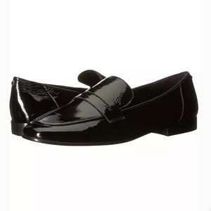 KATE SPADE GENEVIEVE LOAFERS BLK CRINKLE PATENT L